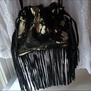 RARE❤️ Sabrina Tach Leather Fringe Festival Bag